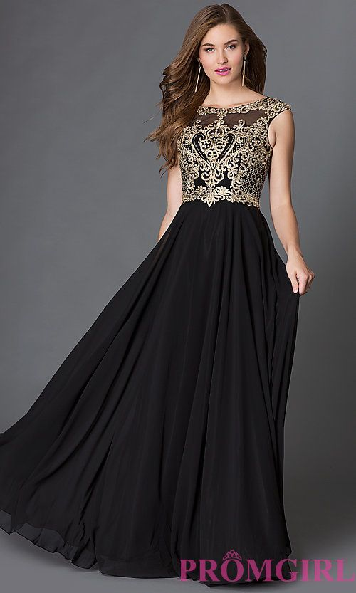6d574a081e Chiffon Long Prom Dress with Embroidered-Lace Bodice