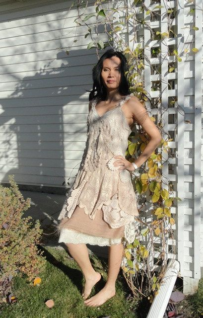 OOAK Crochet  Caramel Taupe Dress Upcycled Altered Couture