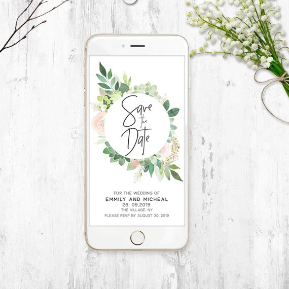 Free Electronic Wedding Invitations Templates: EDITABLE Electronic Save The Date, Electronic Save The