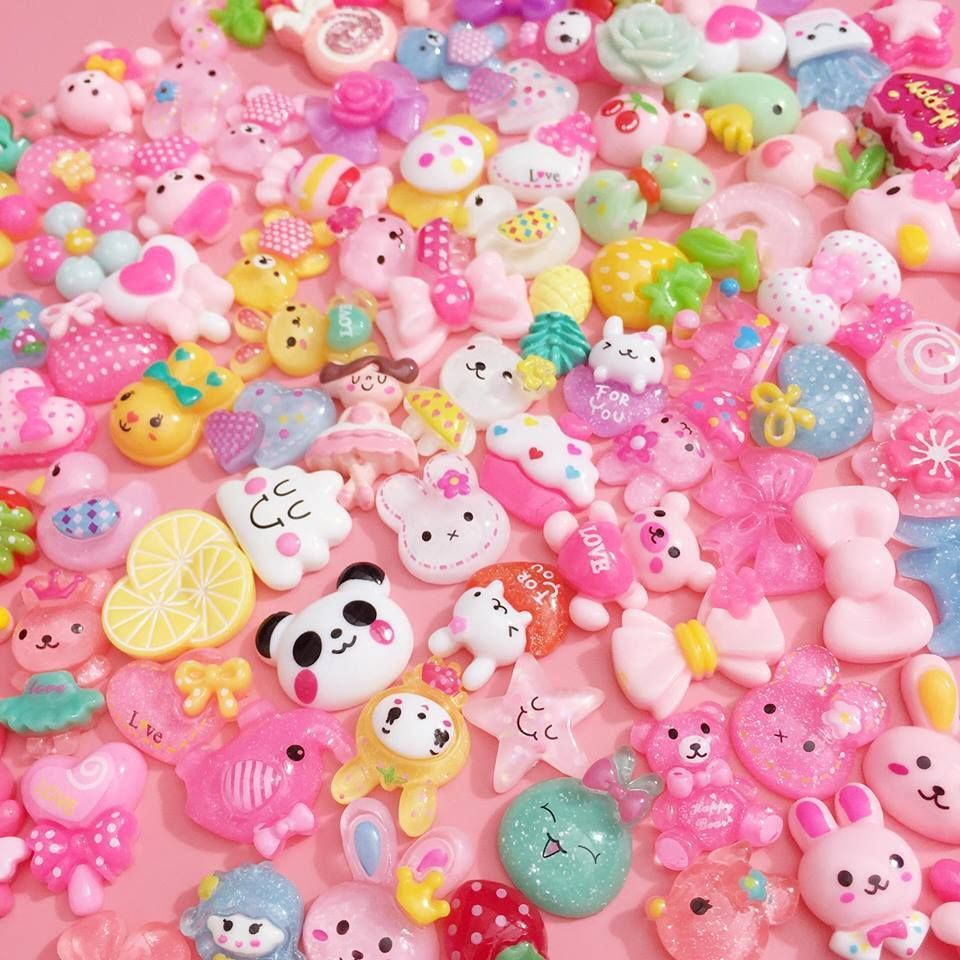Mixed Kawaii Resin Cabochons All Different Cute Decoden Craft Charms Flatbacks