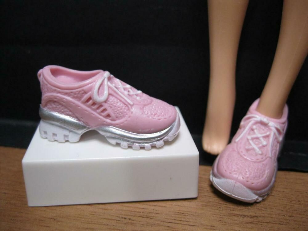 BARBIE DOLL SHOES PINK HIGH TOP SNEAKERS TENNIS SHOES FASHIONISTAS STYLE