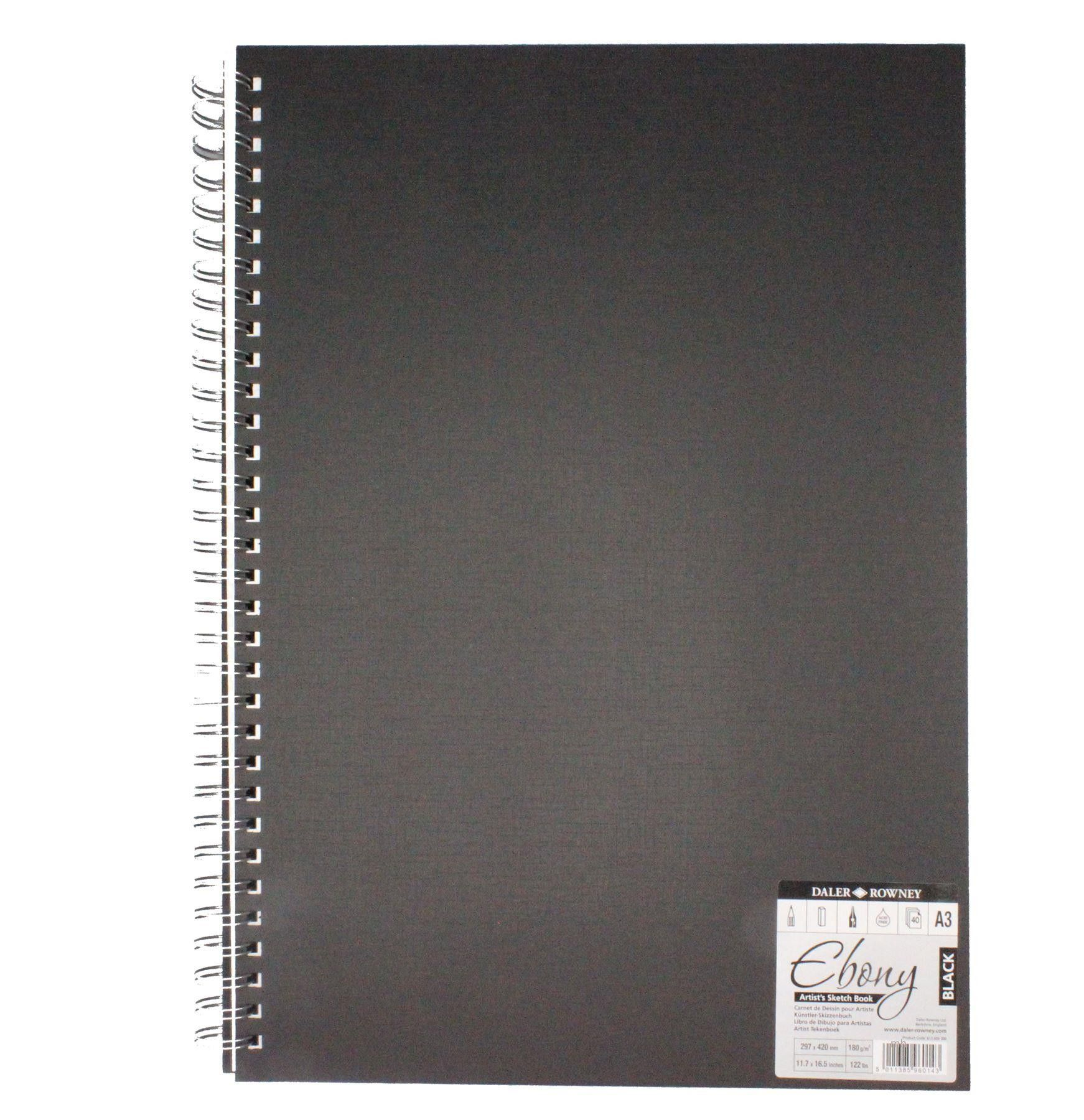 40 Wire Bound Black 180gsm pages A4 Portrait Daler Rowney Ebony Sketchbook