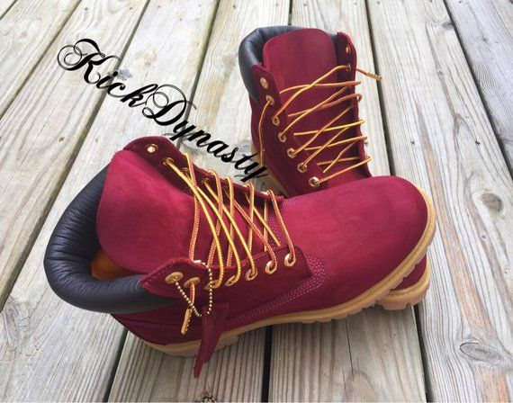 15% OFF FALL SALE Cranberry Burgundy Custom Dyed Timberland