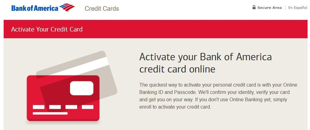 Bank Of America Card Activation Credit Card Online Bank Of