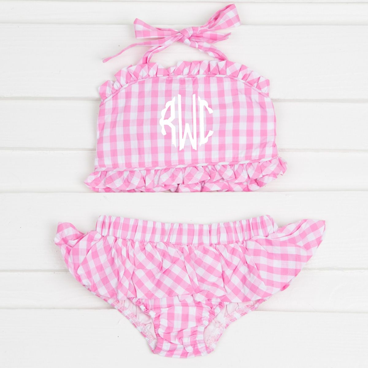 3fcb498436bd65 Two piece ruffle swimsuit on a pink check fabric. Tie in the back of the  neck. Perfect for summer fun! Lined. Cotton blend. **NOT LYCRA**  #smockedauctions ...