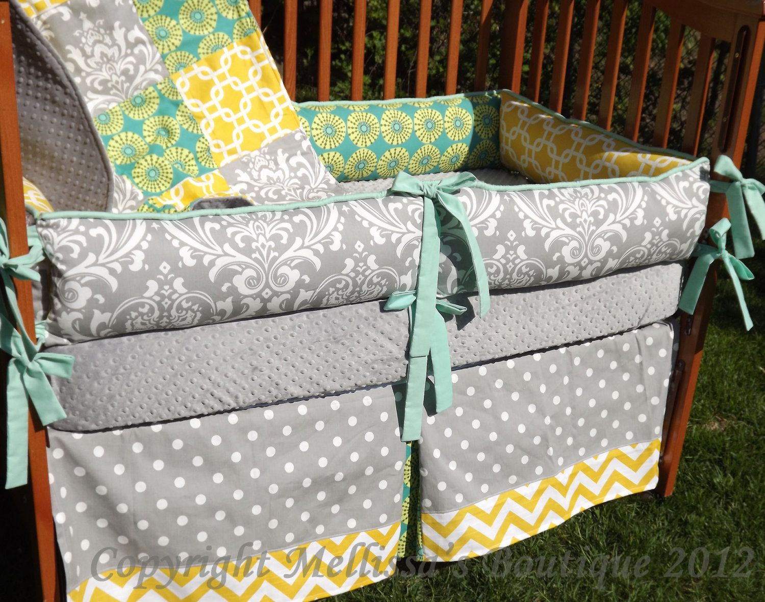 Baby Nursery Yellow Grey Gender Neutral On Custom Grey With Teal And Yellow Accent 4piece Complete Boutique Crib Nursery Bedding Set Gender Neutral 41499 Via Etsy