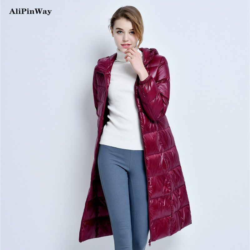 335c381fe2e24 17 New Winter Casual Ultralight Thick Duck Down Long Coat Women Slim ...
