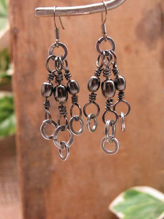 Upcycled Fishing Tackle Earrings  Gunmetal Barrel by thekeyofa, $27.00