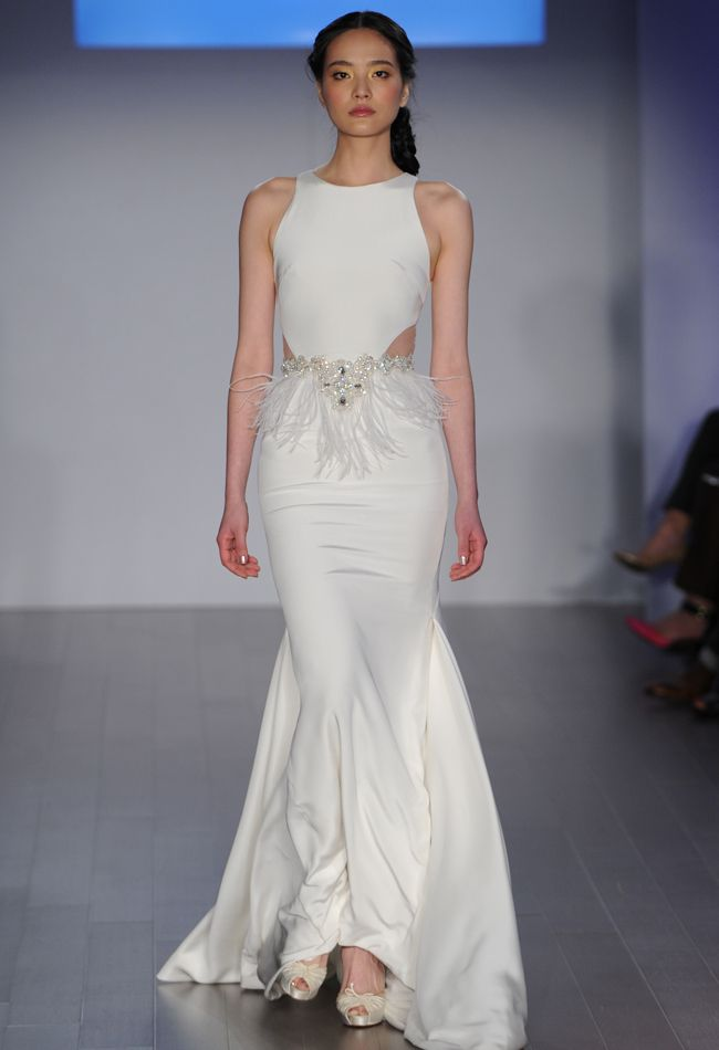 Fit-and-Flare Wedding Dress with Cut Outs | Jim Hjelm Wedding Dresses Spring 2015 | Kurt Wilberding | blog.theknot.com