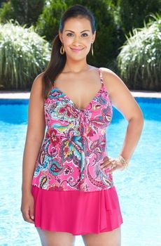 5db659db53e8e Women's Plus Size Swimwear - Simply Sole' Separates Bermuda Paisley  Underwire Tankini Top