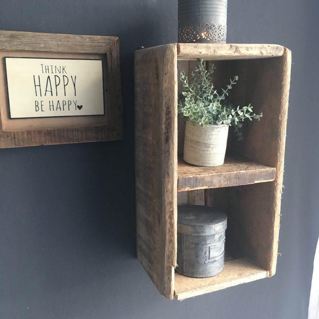 Wandregal Holz Altholz Vintage Shabby Chic Natur Industrial In