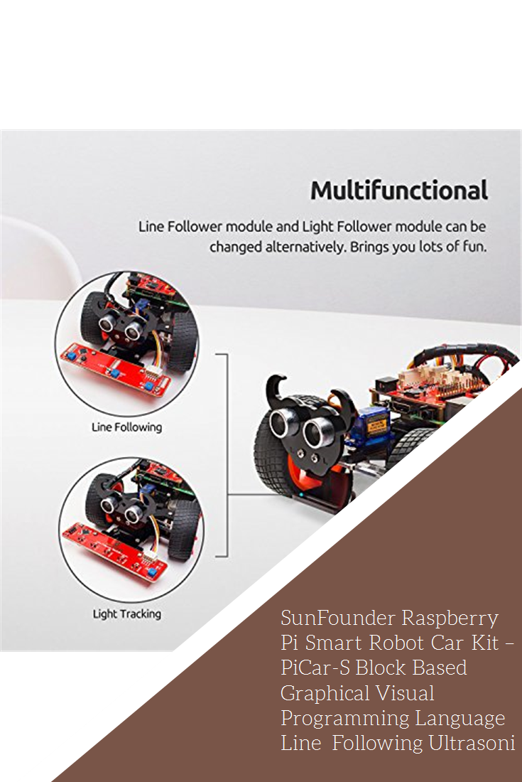 de787009ad103 SunFounder Raspberry Pi Smart Robot Car Kit – PiCar-S Block Based Graphical  Visual Programming Language Line Following Ultrasonic Sensor Light Following  ...
