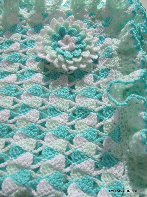 Baby Blanket Crochet Pattern, Turquoise Baby Blanket Ruffle Border ...