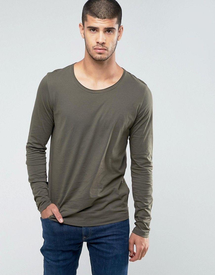 Doopso Slim Fit Long Sleeve T-shirt in Khaki - Khaki HUGO BOSS Outlet Brand New Unisex Shop For Online IAVHGbbM