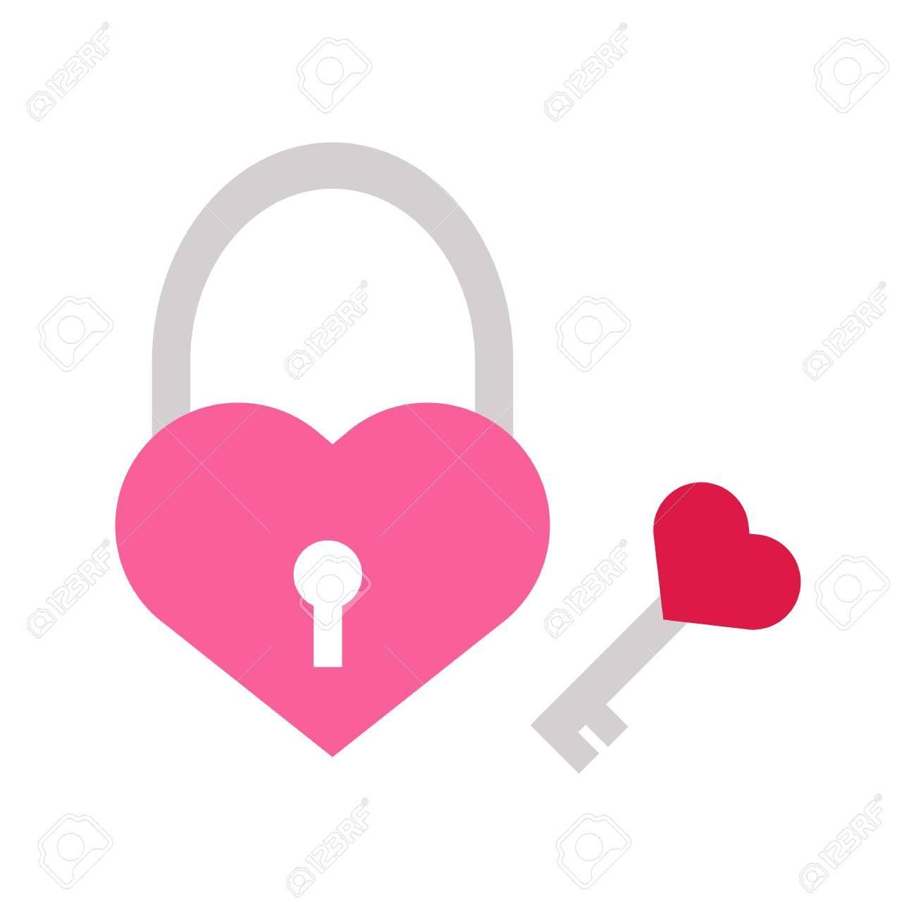 Key Love Heart Padlock Vector Illustration Graphic Design