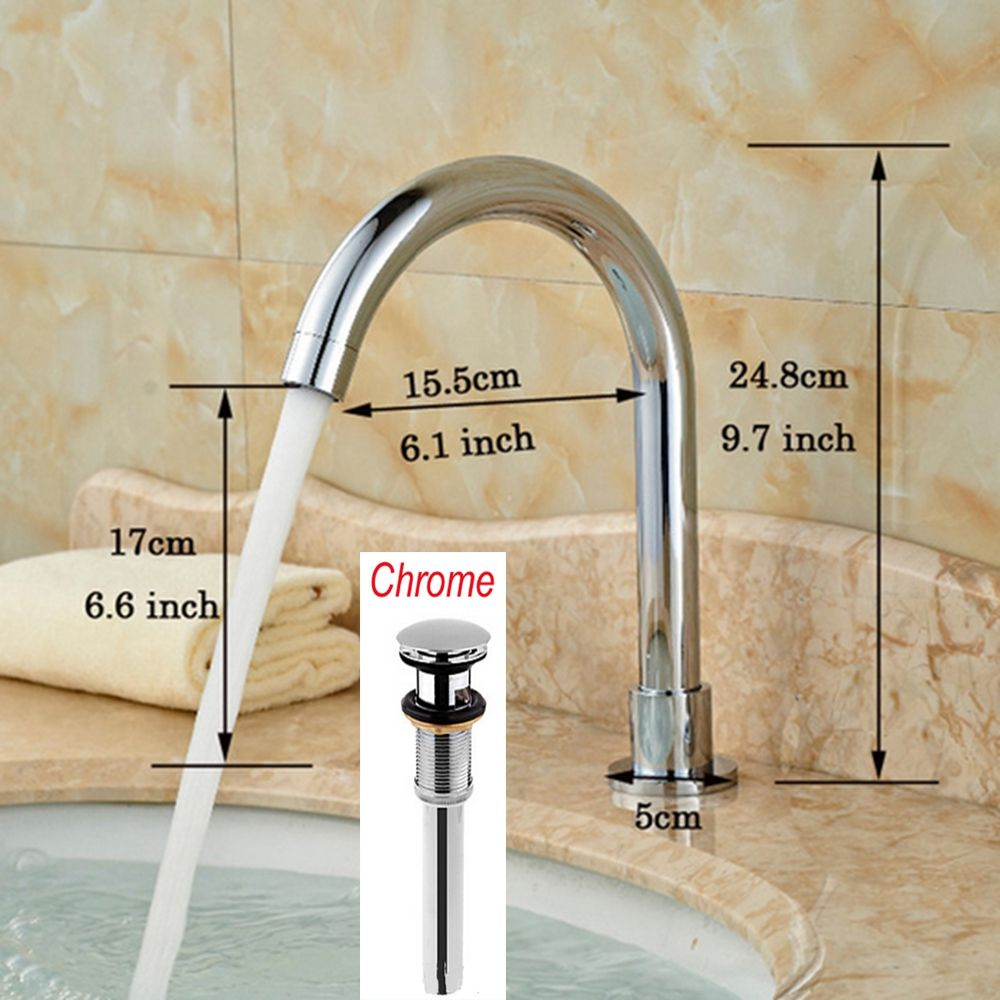 Long Chrome Finish Solid Brass Bathroom Faucet Spout Only Faucet Spout New  #Affiliate
