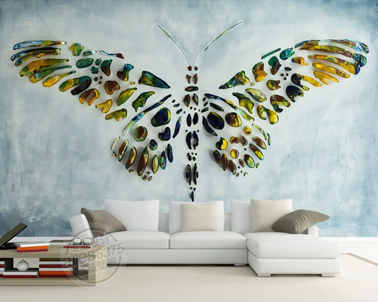 Personalized custom wall murals 3d butterfly painting for Interior wall painting designs