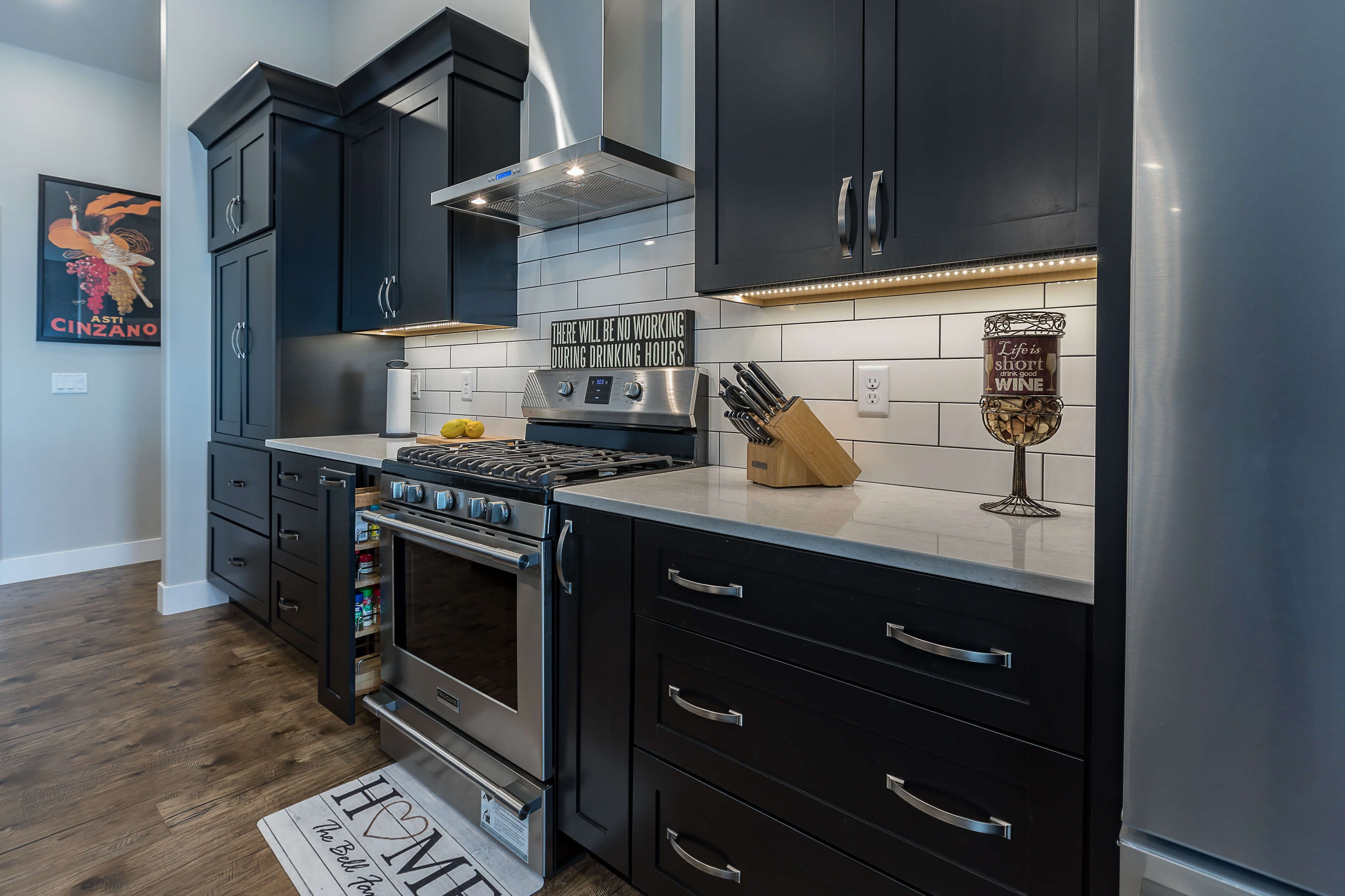 this wall of cabinets perfectly frames the cooking center with tons of space for preparing meals on kitchen organization dishes id=51971