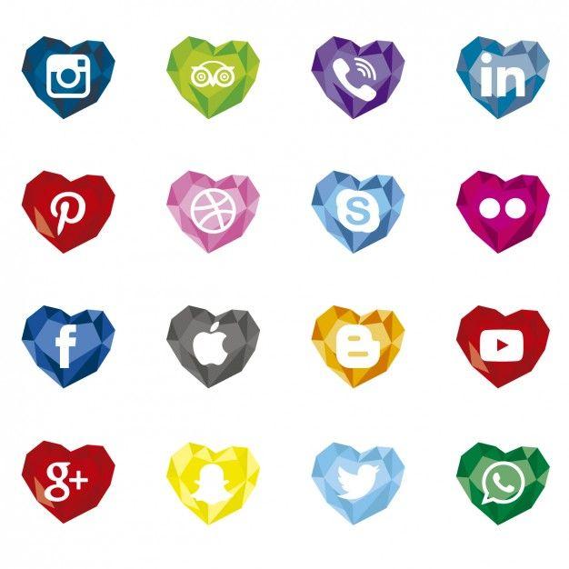 Polygonal Social Media Icons With Heart Shape Social
