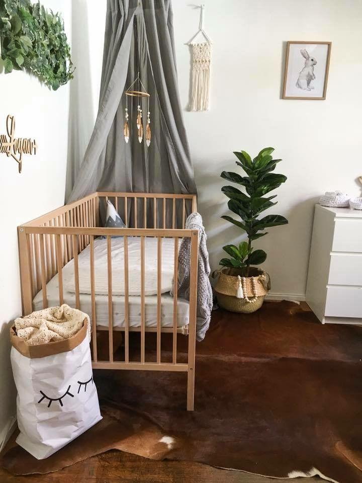 Nursery Neutral Canopy Cowhide Rug Gender Interiors Design
