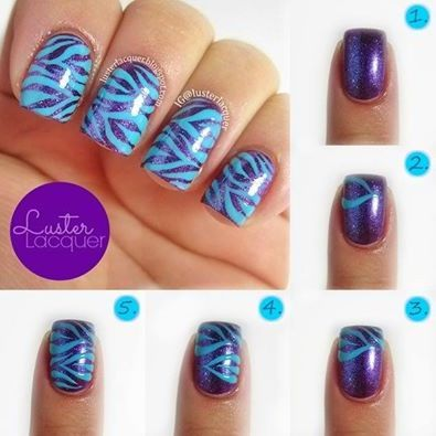 Step By Guide To Coloured Zebra Print Nails