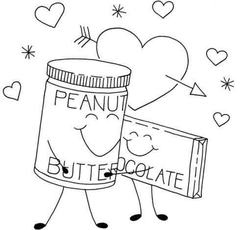 Peanut Butter And Chocolate Coloring Page For Kids Embroidery
