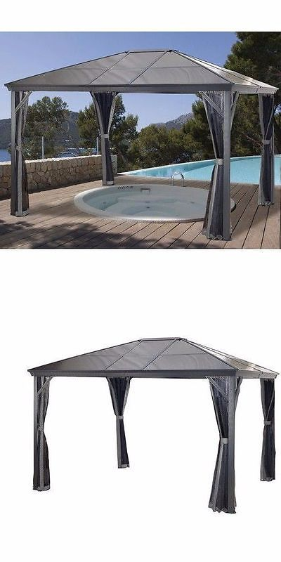 Gazebos 180995: Metal Permanent Gazebo Large 14X10 Outdoor Patio Canopy  Garden Deck Sun Shelter