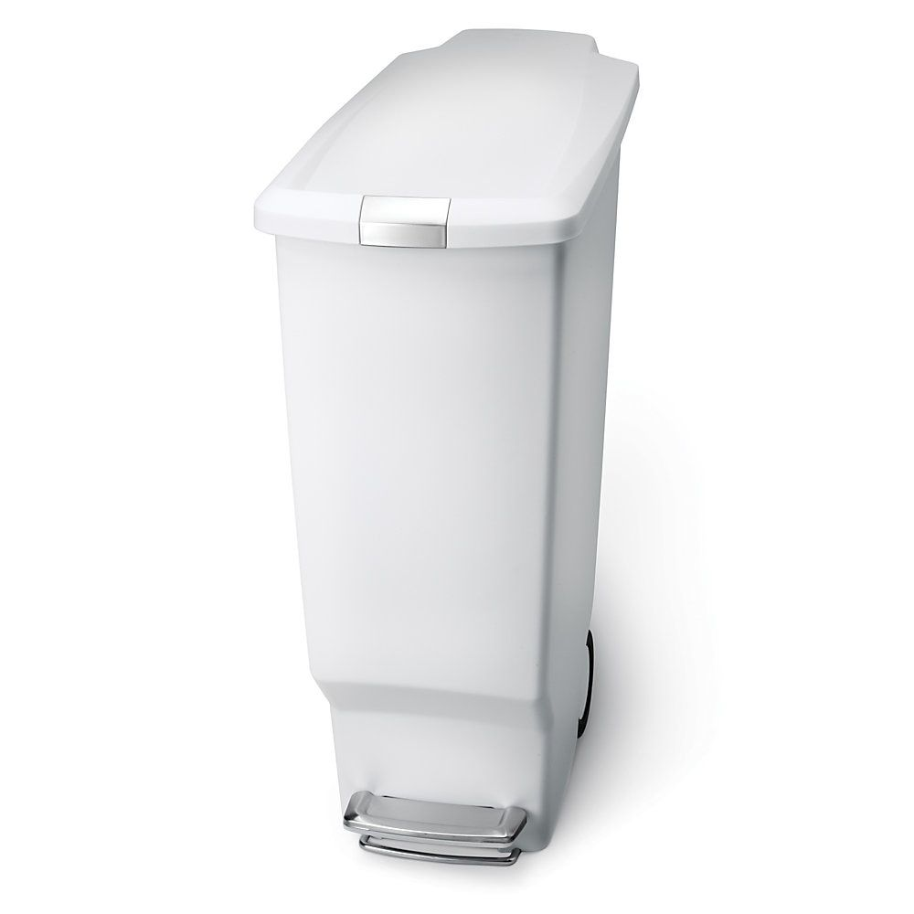 Simplehuman Slim Plastic Step Trash Can 25 1 4 H X 10 1 4 W X 19 5 16 D 10 57 Gallons White Item 9859317 Kitchen Trash Cans Simplehuman Trash Can