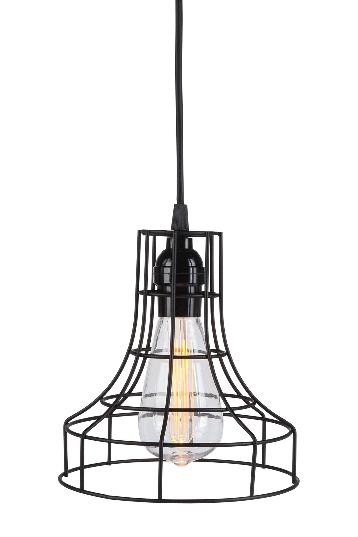 Black Metal Cage Battery Operated Pendant Light With St64 Edison Led Bulb