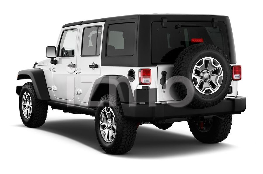 Rear View of Silver 2013 Jeep Wrangler Unlimited Rubicon