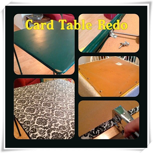 Card Table Redo - super easy! 1 ratty, old card table, 1 yard Damask Table Cloth Fabric (Walmart, $2.97/yd), Plus & Minus screwdrivers, Staple Gun and staples
