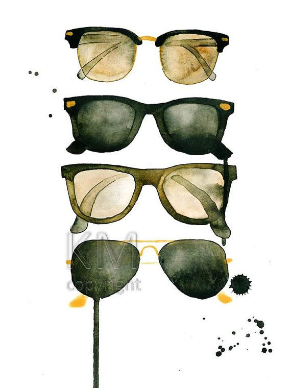 12fd7337931 Ray Bans Print from Original Watercolor Painting by KelseyMDesigns