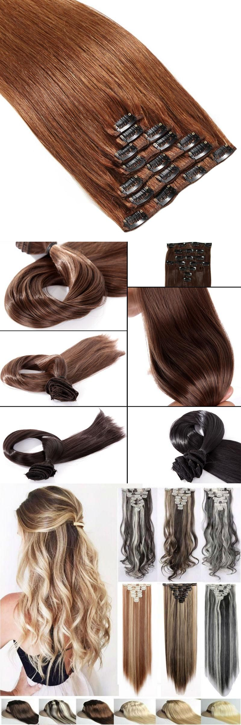 Snoilite Ash Blonde Hairpiece 23inch 170g Straight 18 Clips In False