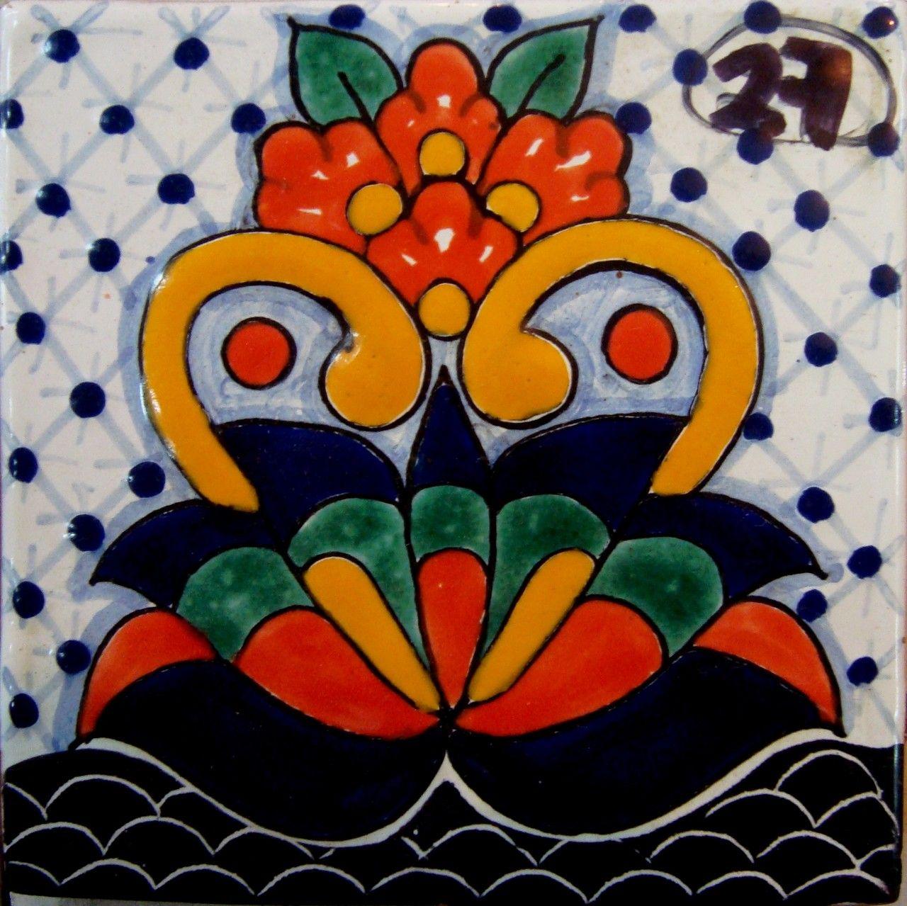 Azulejo talavera de puebla r sticos artesanales talavera azulejo talavera tejas de barro - Pintar tejas de barro ...
