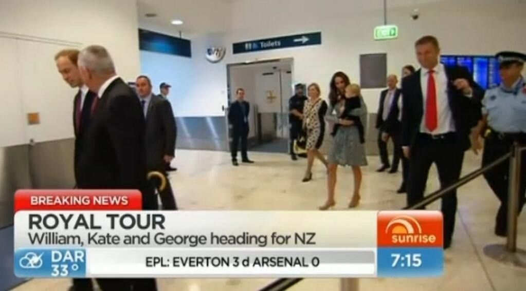 William, Kate and George changing flights in Sydney on their way to New Zealand