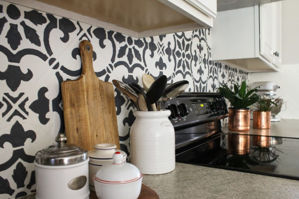How To Stencil A Kitchen Backsplash Using A Tile Pattern Paint