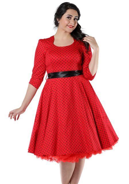 Veronica In Red - punainen mekko -www.misswindyshop.com   #circledress #polkadot #red #sleeves #vintagestyle #fiftiesstyle #50s #petticoat