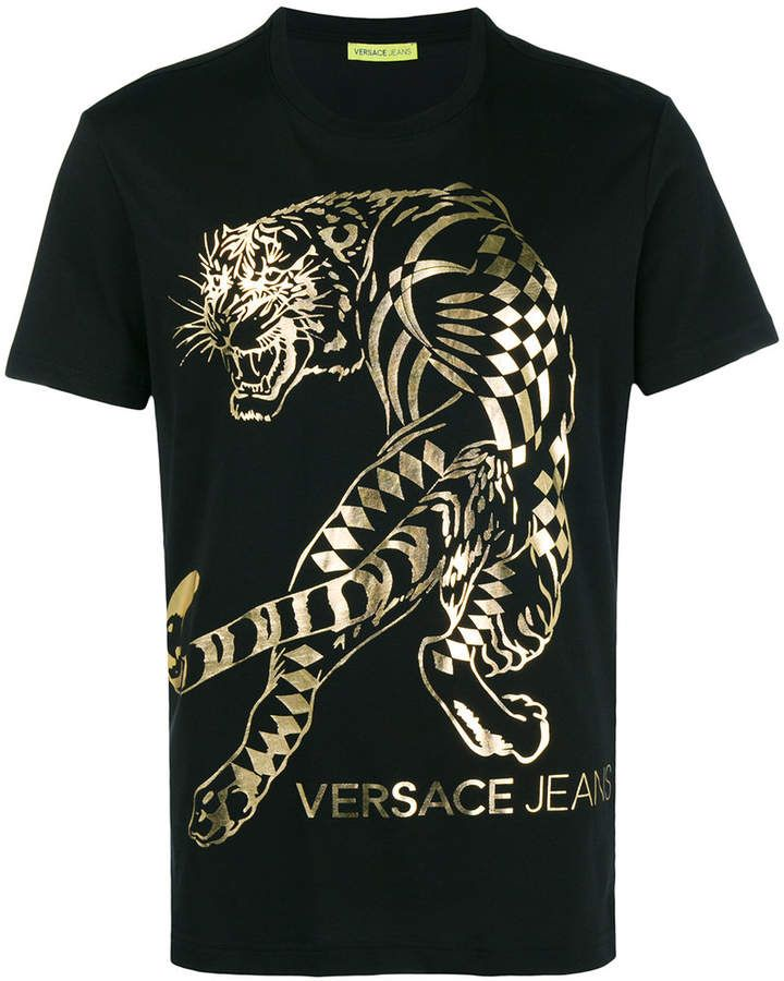 d81e445e Versace tiger print T-shirt | Products | Versace, Versace jeans, Shirts
