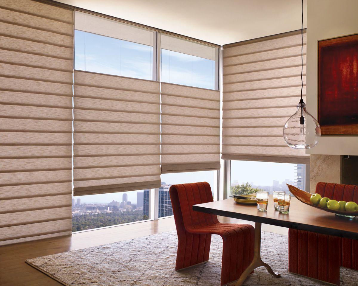 Exceptional A Motif Of Folds And Curves In Warm Reddish Huesu2026a Gorgeous Dining Room  Window Treatmentu2013u2013Alustra Vignette® Modern Roman Shades ♢ Hunter Douglas  Window ...