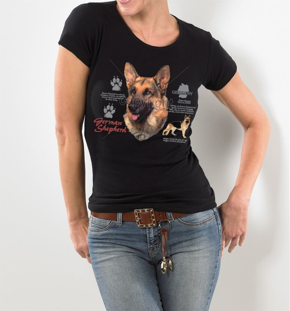GERMAN SHEPHERD HISTORY SLIM FITTED WOMEN'S DOG T-SHIRT BLACK S M L XL 2XL  #Bella #GraphicTee