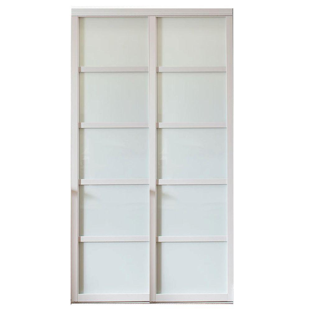 Contractors Wardrobe 60 In X 81 In Tranquility Glass Panels Back Painted White Wood Frame Interior Sliding Door Tr5 Psw6081wh2x Contractors Wardrobe Back Painted Glass Back Painting