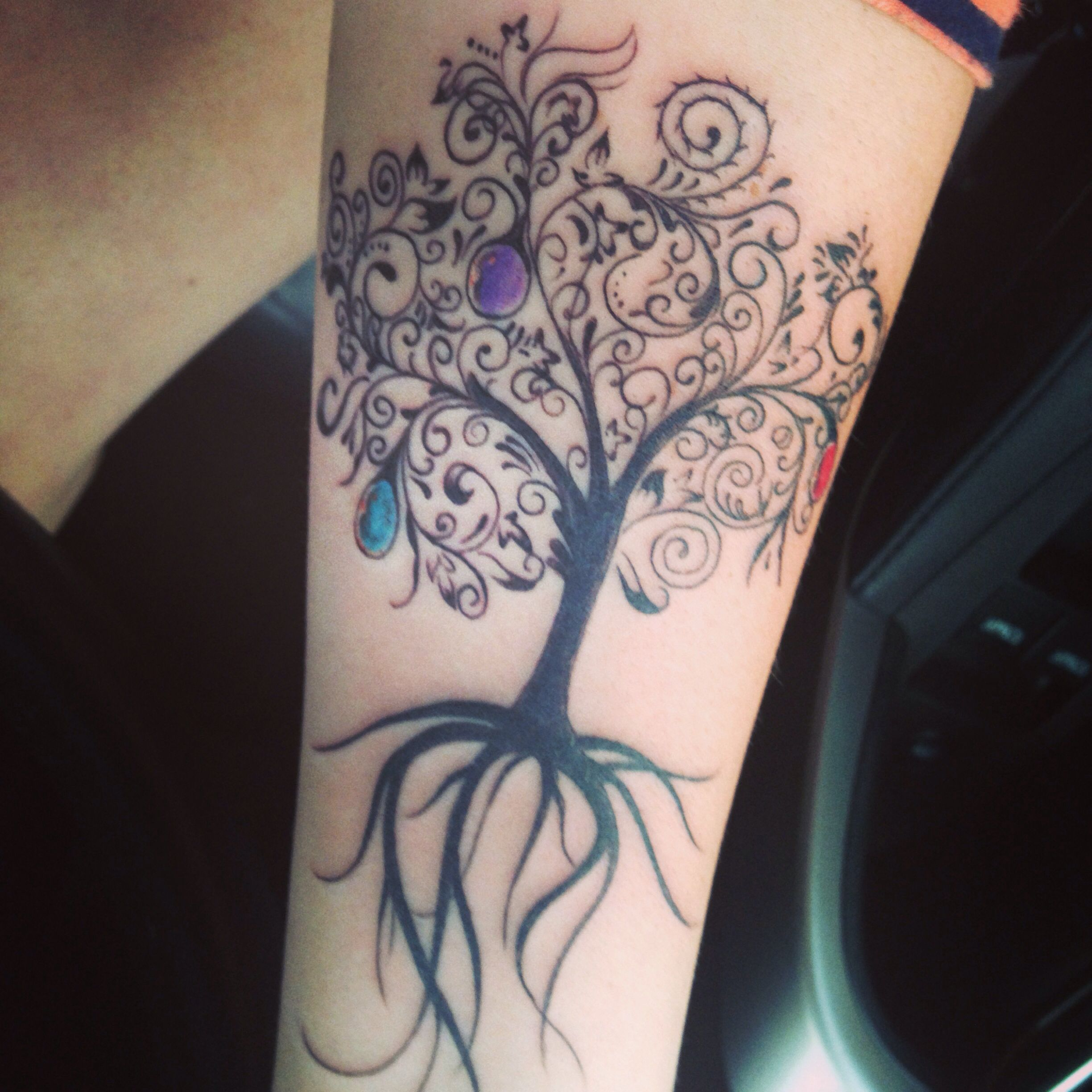 tree of life tattoo with children 39 s birthstone colors done by jett radford at weathered helm. Black Bedroom Furniture Sets. Home Design Ideas