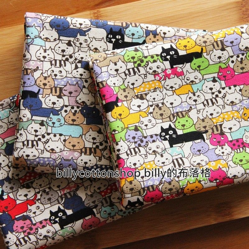 m87- Cats fabrics  - cotton linen fabrics - Half Yard ( 3 color to choose) by billycottonshop0413 on Etsy