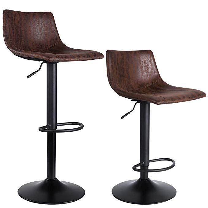 Amazon Com Superjare Set Of 2 Bar Stools Swivel Barstool Chairs With Back Modern Pub Kitchen Counte Adjustable Bar Stools Cool Bar Stools Counter Bar Stools