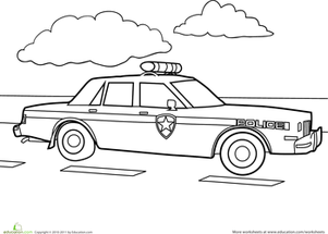 preschool vehicles worksheets police car coloring page worksheet montessori pinterest. Black Bedroom Furniture Sets. Home Design Ideas