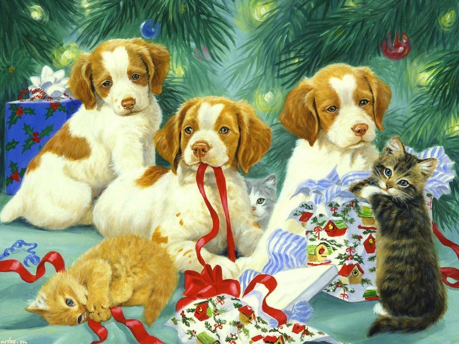 Скачать обои  животные, щенки, котята, ёлка, Новый год, Linda Picken 1600x1200