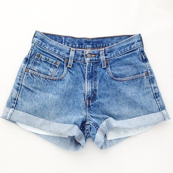 f7aa579428 Original Blues High Waisted Shorts Levis Wrangler Gap Guess Lee ($26) ❤  liked on Polyvore featuring shorts, bottoms, pants, silver, women's  clothing, high ...