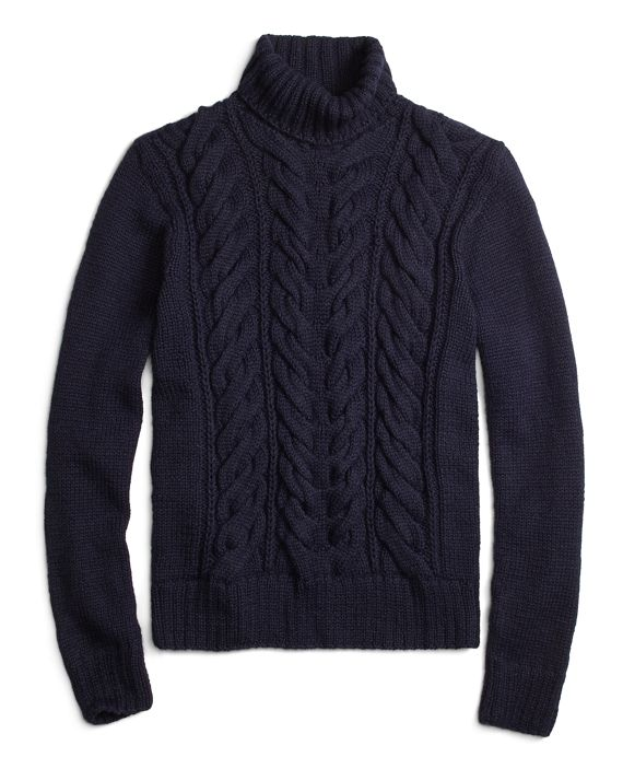 Mens Alpaca Navy Cable Turtleneck Sweater Brooks Brothers
