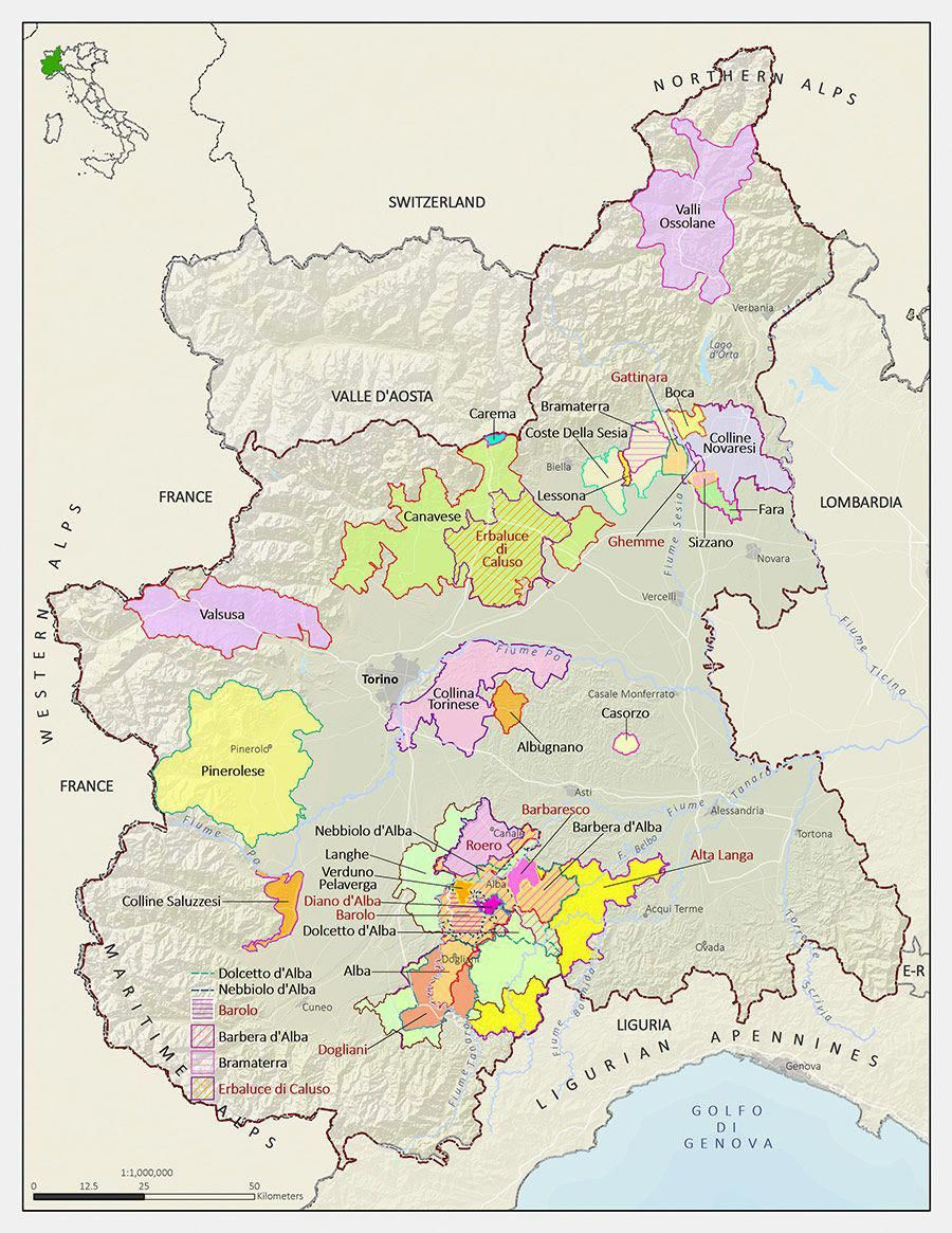 Langhe Italy Map.Italian Wine Maps Langhe In Piedmont Winecourses Winemaker