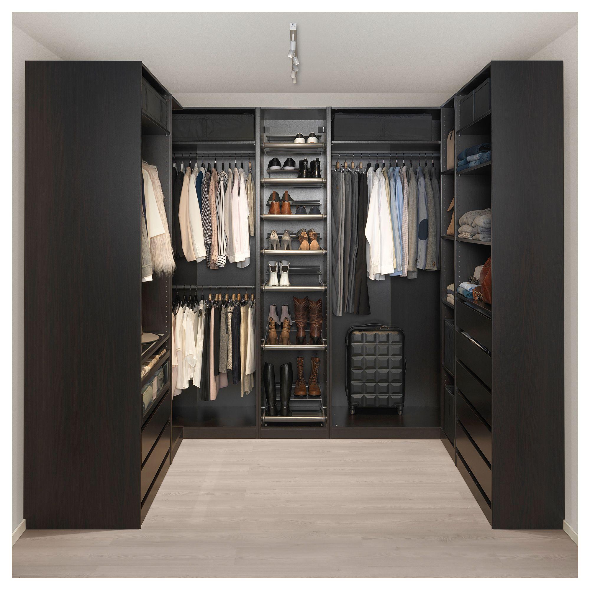 IKEA - PAX black-brown Corner wardrobe Frame colour ...